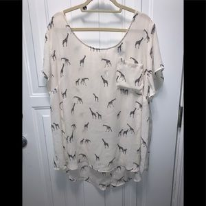 Cream blouse with giraffes